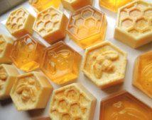 MIEL ou CROTTINS au citron éplucher les savons, ensemble de 18, mélangé avec du lait de chèvres et de savons miel, faveurs de mariage