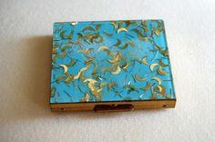Blue and gold confetti Lucite compact