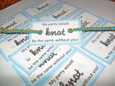 10 Light Blue Bracelet Tags - My party would knot be the same with you - light blue party favor