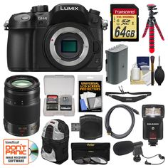 Panasonic Lumix DMC-GH4 4K Micro Four Thirds Digital Camera Body with 35-100mm f/2.8 Lens + 64GB Card + Backpack + Flash + Battery + Tripod Kit. KIT INCLUDES 16 PRODUCTS -- All BRAND NEW Items with all Manufacturer-supplied Accessories + Full USA Warranties:. [1] Panasonic Lumix DMC-GH4 4K Micro Four Thirds Digital Camera Body + [2] Panasonic 35-100mm f/2.8 Lens + [3] Transcend 64GB SDXC UHS-3 Card + [4] Spare DMW-BLF19E Battery +. [5] PD DSLR Sling Backpack + [6] Precision Design Flash…