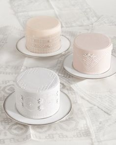 This mouthwatering group started as three handkerchiefs we sent to Stampworx2000, which carved the patterns into rubber stamps. Each dessert serves four; set three on a table to create a delicious display for 12 guests.
