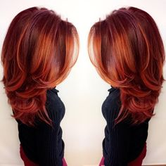 this vibrant firey red look was made with Redken City Beats (color by @anissa.lucero) | glossy hair, balayage, color melt, haircolor inspiration, red hair, copper hair