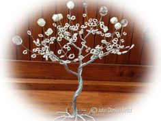 Wire Sculptured Tree with White colour beads leaves and zebra effect Leaves