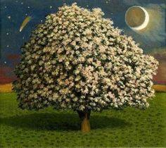 David Inshaw: Apple Tree and Moon, 1998.