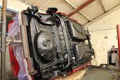 VW Corrado Restoration rotisserie undersealing the underside