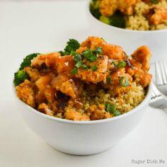 Crispy Orange Chicken Quinoa Bowls - Sugar Dish Me