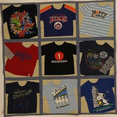 Make your favorite little man a quilt from all of his favorite shirts!    9 sq. Lap quilt with Denim backing and sashing and Khaki background