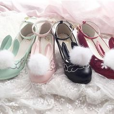 5 colors lolita kawaii bunny ears with fluffy ball high-heel shoes Harajuku Fashion, Kawaii Fashion, Lolita Fashion, Kawaii Bunny, Kawaii Shoes, Shoe Boots, Shoes Heels, Ear Hair, Rabbit Ears