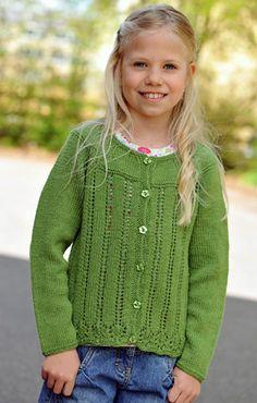 Strikket pigecardigan i grøn