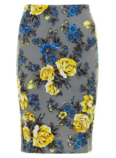 Ruby Rocks Grey Rose Pencil Skirt - Skirts - Clothing - Dorothy Perkins