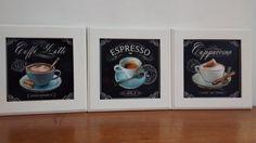 Trio de quadros decorativos para cozinha/copa, espaço gourmet, cafeterias, etc. moldura em mdf na cor branca,  (COM VIDRO).