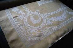 Vintage-Yellow-Irish-Linen-Damask-Tablecloth-Art-Deco-Flower-Swags-86