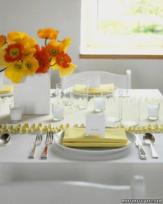 Ruffly Crepe Paper Table Runner - Martha Stewart Weddings Good Things