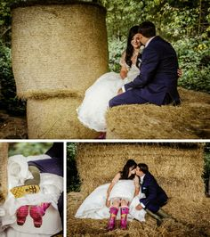 Pixies in the Cellar: Bride and groom in hay bales with wellies - oooo arrr!