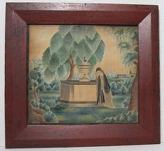 AMERICAN-19th-CENTURY-MOURNING-THEOREM-PAINTING-SCHOOL-GIRL-FOLK-ART