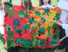 'Green Earth' Felt Wall hanging in schools. http://karenrao.com/Workshop_gallery.html