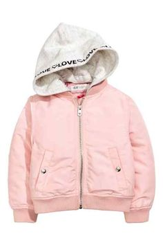 Lightly padded bomber jacket with a detachable hood in sweatshirt fabric.  Ribbed stand-up collar 820491eb250b