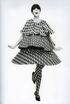 Mary Quant evening cocktail tiered polka dots bell shape tent supermodel photo print ad 60s designer looks vintage fashion