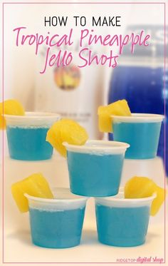 Tropical Pineapple Jello Shots - - Tropical vibe goin' on? These Tropical Pineapple Jello Shots are sure to be a hit. They are sweet, but not too sweet. They have alcohol, but it's not overpowering. The bright blue color…. Pineapple Jello Shot Recipe, Peach Jello Shots, Malibu Jello Shots, Lemonade Jello Shots, Strawberry Jello Shots, Best Jello Shots, Jello Pudding Shots, Jello Shot Recipes, Alcohol Drink Recipes