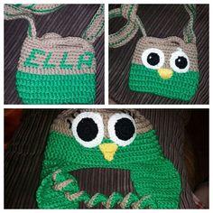 Crochet owl hat and bag Crochet Owl Hat, Beanie, Bags, Handbags, Beanies, Bag, Totes, Hand Bags, Beret