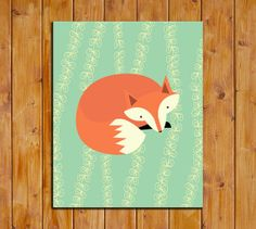 Fox Printable 8x10 Art Print Instant Download by dodidoodles, $5.00