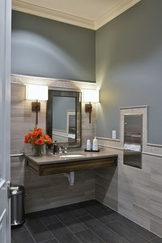 Low ceilings no problem 8 ways to keep not so tall rooms for Office building bathroom design