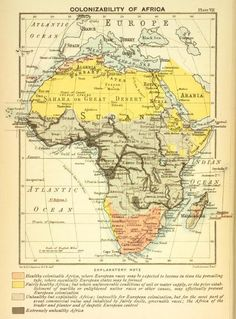 Colonizability of Africa. A map by cartographer John George Bartholomew (1860-1920). Read the legend and be dismayed