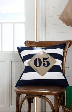 .Nautical pillows for white bench on Beluga