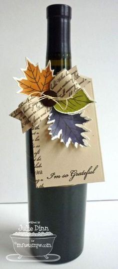 DIY Gift ~ Love the idea of bringing a beautiful seasonally decorated bottle of wine to the hostess for a holiday dinner .the scripted ribbon is a lovely touch. So many possibilities for special occasions! Wine Bottle Tags, Wine Tags, Wine Bottle Crafts, Wine Bottle Wrapping, Wrapped Wine Bottles, Scrapbooking 3d, Craft Gifts, Diy Gifts, Thanksgiving Cards