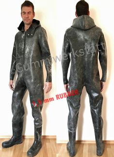 Rubber Flying Suit Coverall Boilersuit Salopette with attached wellies / rubber boots and hood Latex Pants, Latex Suit, Rubber Catsuit, Neoprene Rubber, Latex Men, Wellies Boots, Heavy Rubber, Boiler Suit, Rain Gear