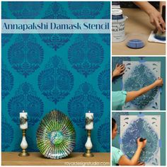 Indian inspired stencil pattern on wall for colorful home decor | Annapakshi Damask Stencil by Royal Design Studio