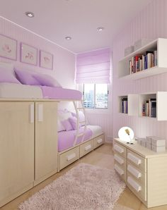 Great idea for a small strangely shaped bedroom.