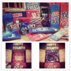 4th of July deployment care package! Filled with all red, white, & blue goodies :)