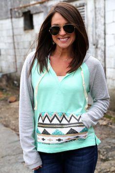 Mint+grey aztec hoodie