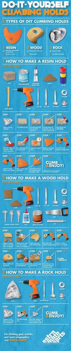 There's no better way to add an awesome personal touch than Do It Yourself climbing holds. Learn more from our How To Make Climbing Wall Holds infographic. - ruggedthug