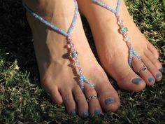 Blue and Pink Flowers Barefoot Sandals, Slave Anklet, foot jewelry, ankle bracelet with toe ring via Etsy