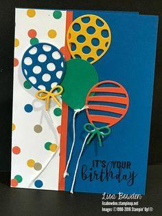 Balloon Pop-Up Thinlits - - 2 Birthday, 1st Birthday Cards, Homemade Birthday Cards, Bday Cards, Homemade Cards, Ballon Party, Scrapbook Cards, Scrapbooking, Masculine Birthday Cards