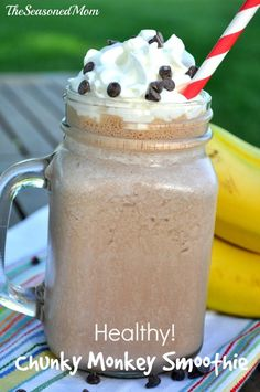 Healthy Breakfast Smoothie: Chunky Monkey! This kid-friendly treat includes peanut butter, banana, and chocolate!  #BreakfastEssentials #PMedia #ad