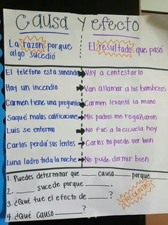 Causa y efecto. Cause and effect Spanish