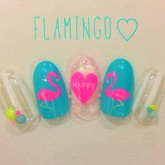 neon nail designs for summer mani, hot pink flamingo nails Trendy Nail Art, Cute Nail Art, Stylish Nails, Neon Nails, Love Nails, Tropical Nail Art, Neon Nail Designs, Neon Design, Asian Nails