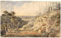 Convicts building road over the Blue Mountains, N.S.W. 1833.