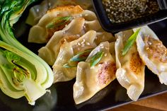 Asian Chicken Potstickers with Sesame-Honey Dipping Sauce and Seared Bok Choy
