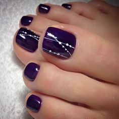 Purple Toe Nail Designs Gallery 48 adorable easy toe nail designs you will love Purple Toe Nail Designs. Here is Purple Toe Nail Designs Gallery for you. Purple Toe Nail Designs purple and silver nail designs purple silver nails. Simple Toe Nails, Pretty Toe Nails, Cute Toe Nails, Summer Toe Nails, Classy Nails, My Nails, Pretty Toes, Fall Toe Nails, Pedicure Summer
