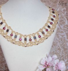 Zeesi - lace bead weaving necklace with fuchsia pearls and brugandy accents. $50.00, via Etsy.