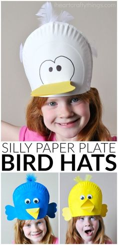 These silly paper plate bird hats make a great spring kids craft, bird crafts for kids, preschool craft and spring bird craft for kids. Fun for a party.