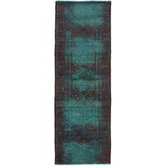 "3'6"" x 10'7"" Color Transition Rug In Aqua & Brown"