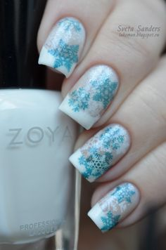 "Lakoman: Stamping ""Snowflakes"" #nails #nailart #snowflakes #snow #manicure Pinned by www.Nailcarehq.com"