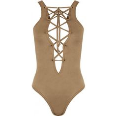 Hatsune Suedette Lace-Up Bodysuit ($23) ❤ liked on Polyvore featuring intimates, shapewear and tops