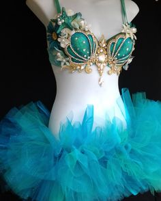 Aqua and gold Mermaid bra with tutu full outfit by RevoltCouture