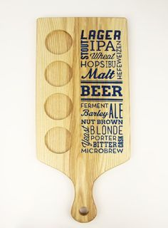 Beer Typography Beer Flight Paddle with by GrainCustomWoodworks, $50.00